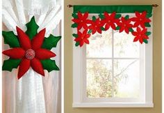 Cortina de flor de pascua o estrella de navidad en fieltro