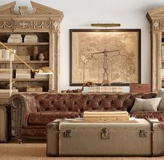 RH's Kensington Leather Sofa:A masterful reproduction by Timothy Oulton of the classic Chesterfield style, our sofa evokes the grand gentlemen's club tradition. Steampunk Interior, Steampunk House, Style Steampunk, Steampunk Bedroom, Steampunk Home Decor, Do It Yourself Sofa, Restoration Hardware Catalog, Deco Studio, Studio Lamp