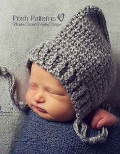 So cute - Crochet Hat Pattern Easy & Elegant Pixie Hat Pattern Crochet Baby Clothes, Crochet Baby Hats, Crochet Beanie, Cute Crochet, Knitted Hats, Crochet For Boys, Baby Crafts, Lana, Crochet Projects