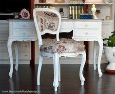 Shabby chic chair Vintage graphic printed chair  Www.lamaisondeblancheneige.it