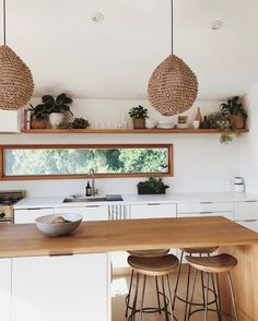 Modern Kitchen Interior bohemian kitchen // minimal kitchen design // bar stools - if you love beachy vibes endless rattan you'll love this Home Decor Kitchen, Rustic Kitchen, New Kitchen, Home Kitchens, Kitchen Walls, Boho Kitchen, Kitchen White, Kitchen Cabinets, Country Kitchen