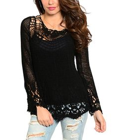 Look at this #zulilyfind! Black Open-Crochet Scoop Neck Sweater by 24|7 Frenzy #zulilyfinds