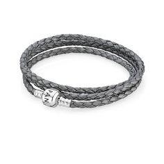 Triple Bracelet Tressé en Cuir - Gris