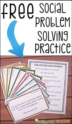 "Use these FREE social scenarios and situations task cards to help kids learn how to solve real problems! These are ideal for kids who struggle with making good decisions or get ""stuck"" in their thinking. So helpful for kids with autism, ADHD, and other social challenges."