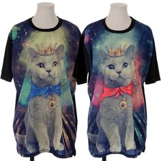 FUNNYGLAM King Cat Long T Shirts Lovely Womens Tops Loose Fit Tees Mini Dress | eBay