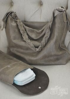 Slouchy boho leather diaper bag and diaper clutch tutorial.