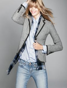 J. crew. Inspired by traditional British riding jackets, our wear-with-all piece features a long, lean silhouette with a nipped-in waist for a flattering effect. Crafted in structured double-serge wool with contrast piping, it's the kind of jacket you'll wear—and love—for seasons to come (we're wearing ours riding subways, bicycles and, of course, horses).