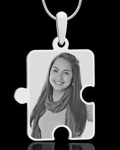 Silver large puzzle  piece photo engraved pendant $39.95