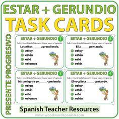 Task cards to practice the conjugation of the verb ESTAR with Spanish Verbs ending in -NDO.Tarjetas de selección múltiple para practicar la conjugación del verbo ESTAR+ Gerundio en español.