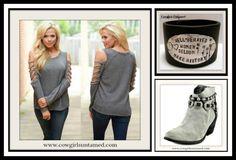 COWGIRLS ROCK TOP Slashed Shoulder Grey Long Sleeve Top Sweater