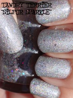 """@TawdryTerrier """"Silfur Sparkle"""" prototype in the sun - check out our polishes at https://www.etsy.com/shop/TawdryTerrier #nailpolish #indienailpolish #tawdryterrier"""