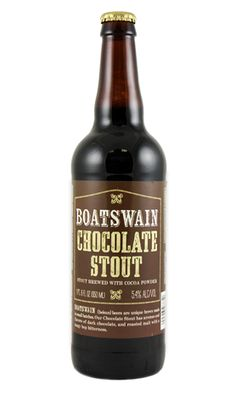 """Boatswain Chocolate Stout. As it states right on the front of the label, this bold bomber is """"brewed with cocoa powder."""" It presents aromas and flavors of dark chocolate and coffee with assertive, tangy hops and caramel maltiness. While it sounds like you might need a fork to enjoy this, it's actually super drinkable. And it's a respectable 5.4% alcohol by volume.  http://www.traderjoes.com/fearless-flyer/article/1044"""