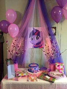 "C wanted a Twilight Sparkle 5th birthday party. She's hard to find without all her friend MLP's. A 16x20"" canvas board and about 6 colors of craft paint later...Twilight Sparkle makes a birthday appearance!"