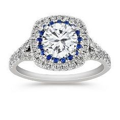 Diamond and Sapphire Engagement Ring with Pave Setting shown with diamond center; your choice of ruby, sapphire or diamond center