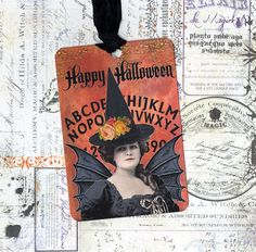Witch Halloween Tag for Tree Ornament for Halloween Decor