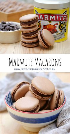 Yes you read it right, Marmite Macarons. A chocolate macaron shell with a Marmite and Amedei  Ganache.