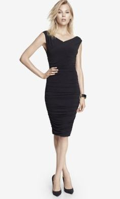BLACK SURPLICE WRAP RUCHED JERSEY MIDI DRESS from EXPRESS