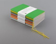 School of Thought Notebooks.  Each paper banded set contains 3 notebooks (one each of plain, grid and lined paper) 125 x 178mm   64pp