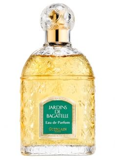 Jardins de Bagarelle is the name of a floral female fragrance presented in 1983, created by Jean-Paul Guerlain. This is a rich formula combining jasmine, violet, aldehydes, lemon and bergamot at the top, adding up the heart of gardenia, rose, orange blossom, tuberose, magnolia, ylang-ylang, orchid, lily-of-the-valley and narcissus, ending at the base of tuberose, cedar, vetiver, patchouli, musk and neroli. Robert Granai is the bottle designer.
