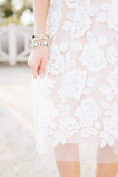 floral embroidered dress with tulle