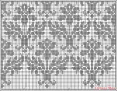 damask pattern - filet crochet, but I'll stitch it for a cushion. :)Kauni damask pattern - filet crochet, but I'll stitch it for a cushion. Cross Stitch Pillow, Cross Stitch Bird, Cross Stitch Designs, Cross Stitching, Cross Stitch Patterns, Fair Isle Knitting Patterns, Knitting Charts, Knitting Stitches, Crochet Cross
