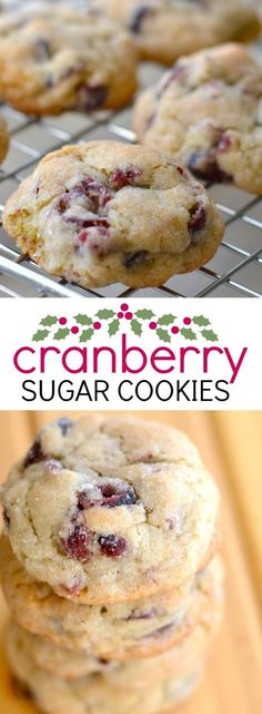 These soft cranberry sugar cookies are a delicious treat for Christmas or any time of year! These soft cranberry sugar cookies are a delicious treat for Christmas or any time of year! Yummy Cookies, Brownie Cookies, Sugar Cookies, Yummy Treats, Delicious Desserts, Yummy Food, Baby Cookies, Sweet Treats, Crisco Cookies