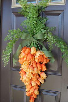 Spring Wreath    Carrot Wreath    Easter Door Decor