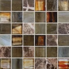 Marron Brown 1'' x 1'' Glass and Stone Glossy Tile