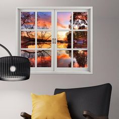 Sunset 3D Artificial Window View 3D Wall Decals Lake View Room Stickers Home Wall Decor Gift