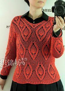 Tina's handicraft : long sleeve crochet blouse , pineapple stitch
