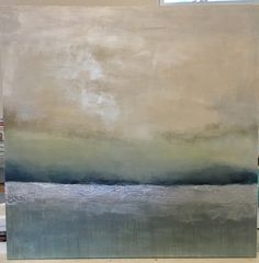 Abstract landscape Silverland- 48x48 mixed media on canvas