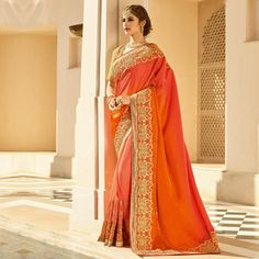 Buy Orange Party Wear Georgette Saree online India, Best Prices, Reviews - Peachmode