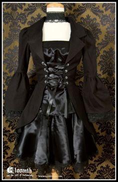 Gloomth Gothic Aristocrat Autumn Overcoat Frock Coat Lolita Goth Vampire Corset Laced Bell Sleeves