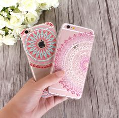 Case For iPhone 7 6 5 SE 4 Colorful Floral Paisley Flower Mandala Henna Clear Silicone Soft Cover