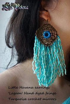 https://flic.kr/p/NknJmH | Little Havana earrings | Hand dyed vintage fringed earrings, filigree brass dangle pair with beaded crochet mirrors.