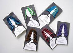 08 - E cabelo é o seu negócio. Deixe isso bem claro no seu cartão de visitas. Essa foi a proposta do artista Yuka Suzuki ao decidir criar esse transado cartão de visitas, que imprime um diferente corte, cor e penteado a cada um dos cartões.