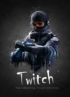 """Rainbow Six Siege Characters Twitch #Displate artwork by artist """"TraXim"""". Part of a 33-piece set featuring artwork based on characters from the popular Rainbow Six video game. £37 / $49 per poster (Regular size), £74 / $98 per poster (Large size) #RainbowSix #RainbowSixSiege #TomClancy #TomClancysRainbowSix #Rainbow6 #Rainbow6Siege #TomClancysRainbow6 #Ubisoft"""