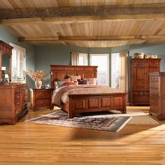 A-America Kalispell Mantel Bed Bedroom Set, Rustic Mahogany - Home Furniture Showroom