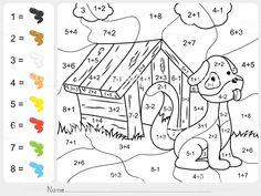 paint color by addition and subtraction numbers - worksheet for education Disney Coloring Pages, Free Coloring Pages, Coloring For Kids, Coloring Books, Dinosaurs Preschool, Numbers For Kids, Number Worksheets, Stock Foto, Decoupage Paper
