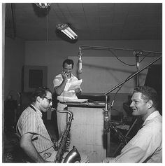 Jack Kerouac, Al Cohn and Zoot Simms in studio during the recording sessions for Blues and Haikus, circa late 1958/early 1959.