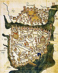 Created in 1422 by Cristoforo Buondelmonti, this is the oldest surviving map of Constantinople.