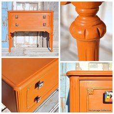 Barcelona Orange Chalk Paint® decorative paint by Annie Sloan with Clear Wax. Artistry by The Salvage Collection.
