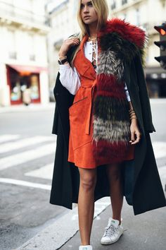 Nina Suess: Rue Daru, Paris Street Snap, Long Johns, My Wardrobe, Corduroy, Feathers, Fur Coat, Cashmere, Tights, Turtle Neck