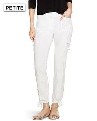 Petite Convertible Ankle to Crop White Cargo Pants