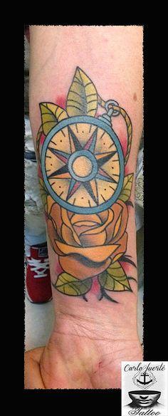 traditional tattoo #neo traditional tattoo #tattoo idea #compass tattoo #rose tattoo