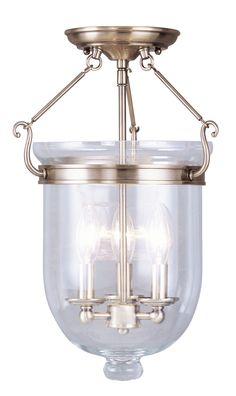 Livex Lighting Jefferson Antique Brass Ceiling Mount 5062-01