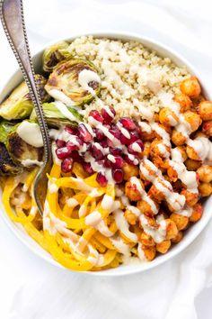 Spiralized Butternut Squash Bowls with Harissa Chickpeas + Quinoa