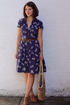 blue flower shirt dress, brown belt, brown oxfords