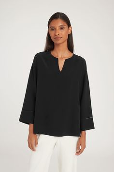 The epitome of modern luxury, our silk tops (tanks, blouses, and more) will become an essential part of your elegant, everyday wardrobe. Slip on our tops for an effortless style. Winter Blouses, Fall Looks, Piece Of Clothing, Silk Top, Winter Outfits, Tunic Tops, Pure Products, Clothes For Women, Sleeve