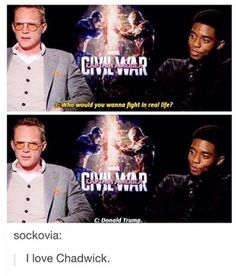 This is why Chadwick is my fave Marvel actor my friends Marvel Funny, Marvel Dc Comics, Marvel Avengers, Avengers Cast, Avengers Memes, Avengers Imagines, Marvel Actors, Marvel Movies, Loki Thor